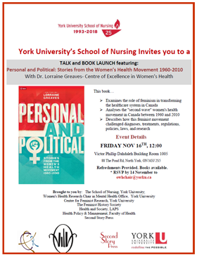Talk and Book Launch: Personal and Political on Nov. 16, 2018